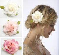 "20PX 3.5"" White Pink Rose Flower Hair Clip Brooch Wedding Bridal Corsage Hair Choo"