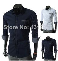 2014 High Quality New Hot Men's Shirts Casual Cotton Long Sleeve Spring/Autumn Shirts Plus Size M L XL XXL White/Blue