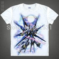 GUNDAM ZGMF-X20A Strike Freedom Gundam MSN-06S Sinanju T-shirt Breathable short sleeve Cartoon shirt manga cosplay top quality