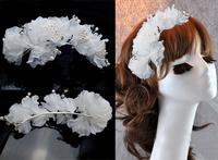 "5PX 10"" Blooming Silky  white chiffon Flower Hair Clip Tiara Hair Pin wedding Bridal Bridesmaid Party Corsage Choochie"