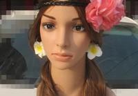 Beach plumerias earrings circle big flower Earbob Ear Drop Women accessories (Minim order $10)