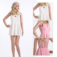 Vestido Limited Dress 2014 New Fashion Women Dress Party Elegant Summer Sexy Tank Vest Chiffon Hollow Lace Mini Free Shipping