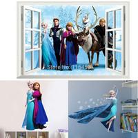 3PCS DIY 3D Window Frozen QUEEN ELSA Anna Princess Wall Sticker Viny Art Mural Home Decal Kids Room Removable Decor Mural