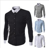 2014 new fashion sportsmen fashionable casual color block long-sleeve shirt men's slim all-match shirt free shipping