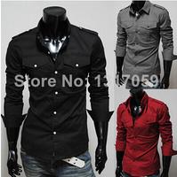 Free Shipping New Mens Casual Slim Fit Stylish Dress Shirts Colour:Black,Gray,Red Asian M,L,XL,XXL