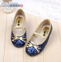 2014 autumn Child leather shoes princess paillette dance performance shoes kids Moccasins 4colors free shipping