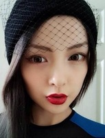new 2014 Striped knit cap mesh veil(freeshipping)