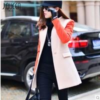 New 2014 spring & autumn Women Patchwork  Long Wool & Blends Overcoat Wool outerwear Female plus size XS S M L XL XXL