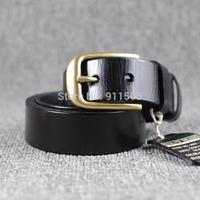 2014 Top sales Men's/women  first layer cow hide leather belt  Pure brass pin buckle  joker pure leather belt