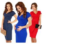 New Fashion 2014 Elegant Celebrity V-neck Short Sleeve Knee-length Cotton Casual Bodycon Women Dresses NZ428