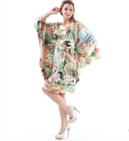 Big Clothing Plus Size Women's Sleep&Lounge Summer spring Imilated Silk Satin Robes Sleepshirts Print Dresses YT20 With Belt