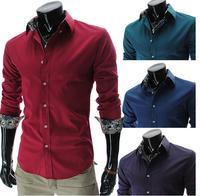 High quality fashion lining men's shirt luxury long-sleeve slim casual shirt free shipping