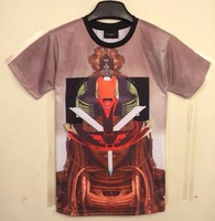 New 2014 Spring summer Fashion Men/Women t-shirt printed film character Robot top tees 3d t shirt women WT67