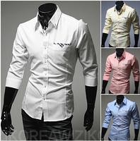 Hot-selling fashion long-sleeve slim casual shirt pocket top bordered color block men's shirt
