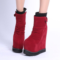 [Free shipping] 2014 New arrival fashion female yarn super high platform wedge ankle boots snow boots women's shoes