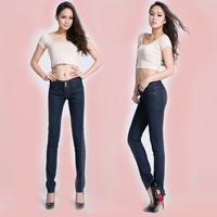 Spring 2014 women's elastic high waist denim jeans slim pencil pants female
