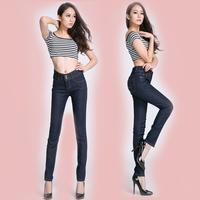 2014 denim high waist tights women's slim pencil pants jeans female