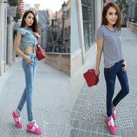 Spring 2014 women's pencil jeans denim slim elastic breathable lace decoration pants