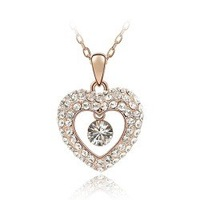 Free Shipping wholesale fashion jewelry White Gold Plated heart Crystal Necklace ZBK108