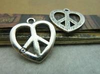 40pcs 25*26mm silver Peace Symbol qntique charms bracelet necklace pendants diy decorations cabochons jewelry accessories