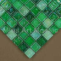 [Mius Art Mosaic] Iridescent green mix glass mosaic tile for kitchen backsplash D1YD2003
