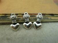 40pcs 6*9*17mm silver heart  crown qntique charms bracelet necklace pendants diy decorations cabochons jewelry accessories