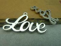 30pcs 22*40mm silver letter lover qntique charms bracelet necklace pendants diy decorations cabochons jewelry accessories