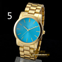 Free Shipping New 2014 Fashion Kors Watch Men Famous Brand Quartz Watch Blue Dial Steel Strap Casual Woman Wristwatches 6 Color