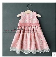 2014 new spring & summer foreign trade girl flower lace bow dress baby &kids princess party dress infant tutu designer dresses
