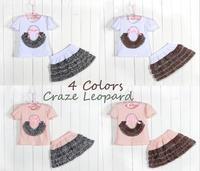 2014 2Pcs Outfits Children's Clothing Set New Fashion Baby Girls Kids Children Flowers t Shirt Top+Skirt Set Leopard Tutu Skirt