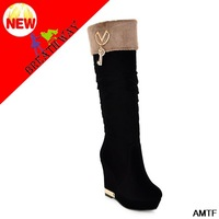 knee high boots special offer new fashion boots mid-calf round toe genuine winter boots women 2014 platform thick cotton woman