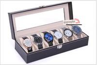 Free shipping Leather Skylights 6 Grid Watch Display Case Box Jewelry Storage Organizer Black