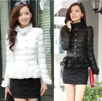 Free Shipping 2014 New Women Winter 'S Casual Dress Warm Down Coat Thick Padded Cotton Jacket Coat Flounced Short Paragraph S-XL