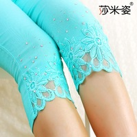 New 2014 Korean women's denim leggings with lace diamond thin leg opening paragraph outer wear lace pant