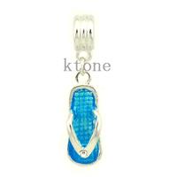 2 Pieces/lot,2014 New Arrival 925 Silver Beads,Flip Flops Pendant Fit Pandora Charms Bracelets & Necklace,DIY Jewelry ,SPP035