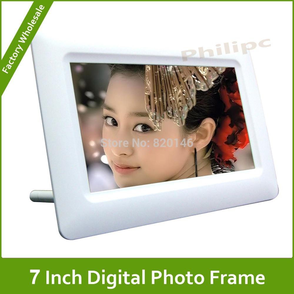 7 pouces. tft-lcd cadre photo numérique photos avec la date, horloge, réveil, le calendrier et le temps de réglage de puissance hors fonction