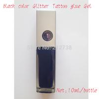 Free shipping 1pcs Black color Glitter Tattoo glue Gel 10ml/bottle for Temporary tattoo kit