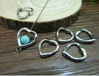 100pcs 13*13mm silver heart shap with hole qntique charms bracelet necklace pendants diy decoration cabochon jewelry accessories