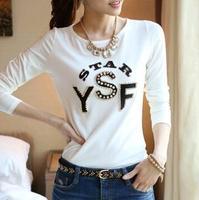 Plus Size XXXL 2014 autumn  women's clothing letters long sleeveT-shirt 100% cotton render women blusas femininas women t-shirt
