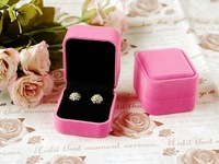 Factory sales High-grade flocking earring ring box Square with rounded corners Gift shop jewelry store jewelry packaging boxes