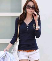 Plus Size XXXL fashion women zara2014 autumn&winter t shirt embroidery  long sleeve V neck 100% cotton t-shirt tops for women