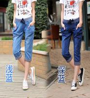 2014 spring and summer elastic roll up hem women's loose harem pants 7 female jeans