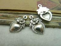 100pcs 11*18mm silver heart with flower qntique charms bracelet necklace pendants diy decoration cabochon jewelry accessories