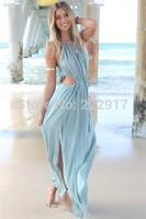 New 2014 Summer European and American Style Fashion Beach dress Sexy Bandage Floor Vestidos Women Chiffon Party Casual dresses
