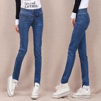 2014 autumn denim high waist tights women's skinny pants female slim pencil long trousers