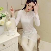 Free shipping! 2014 autumn gentlewomen fashion beaded turn-down collar long lace design shirt! 501901