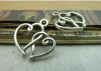 100pcs 19*19mm silver heart  to heart qntique charms bracelet necklace pendants diy decoration cabochon jewelry accessories