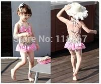 Baby girl swimwear Children kids swimwear top quality leopard split swimsuit bikini zebra print suit skiet tulle 50pcs