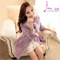 New 2014 fashion women's luxury 100% Rex Rabbit coat fur gentlewoman winter keep warm fur overcoat elegant wife's gorgeous gift