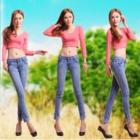 2014 spring women's woman slim pencil jeans